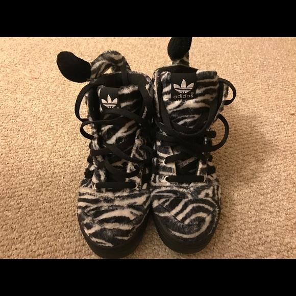 sale retailer 7ba2f 98da8 Jermey Scott Adidas Zebra Sneakers